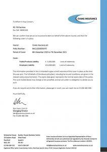 PJR Services Public liability Certificate 2020 21